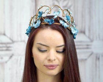Woodland Crown, Blue Flower Crown, Circlet, Fairy Headdress, Headpiece, Fairy Crown, Elven Crown, Bridal Headpiece, Wedding, Boho