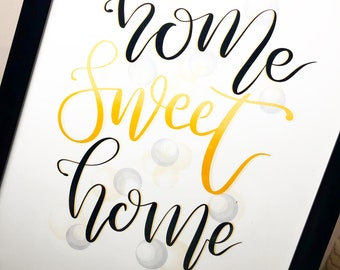 Home Sweet Home in Yellow with Black A4 Frame