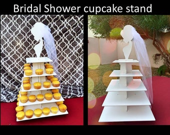 Bride themed cupcake stand with veil