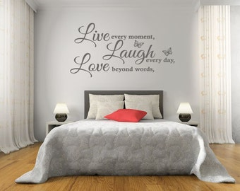 """Wall Quote """"Live, Laugh, Love"""" Wall Art Sticker, Vinyl Decal, Modern Transfer."""