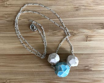 Ceramic, geometric bead necklace