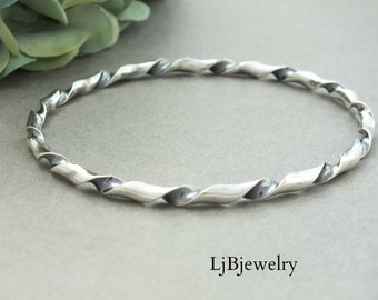 Silver Coiled Bangle, Stacking Silver Bangle, Silver Bangle, Statement Bangle, Chunky Bangle, Sterling Silver, Artisan Metalsmith Jewelry