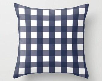 Buffalo Check Pillow, Blue Plaid Pillow, Navy Checkered Cushion, Box Check Decor Cushion, 16x16 18x18 20x20, Decorative Pillow, Throw Pillow