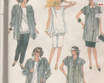 Simplicity 8549 Vintage Pattern Womens Maternity Tunic, Top, Skirt and Pants Size 10,12,14 UNCUT