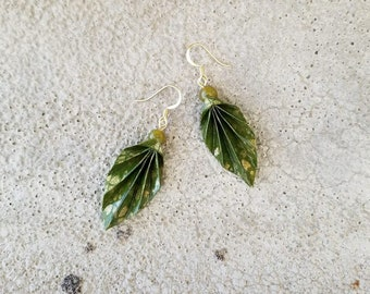 Origami Jewelry - Japanese Origami Leaf Earrings with Surgical Steel Hooks No.03561