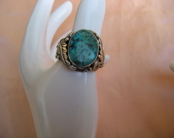Sterling Silver Turquoise Ring Unique Design  Size 4