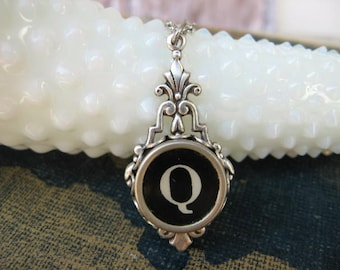 Antique Typewriter Key Pendant, Letter Q, Initial Necklace