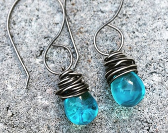 Sterling Silver Earrings, Dangle Earrings, Aqua, Blue, Glass Teardrop Earrings, Oxidized