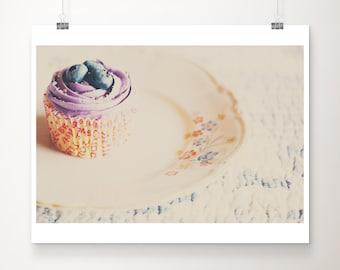 cupcake photography, food photography, kitchen wall art, blueberry cake, bakery decor, still life photograph, cake print