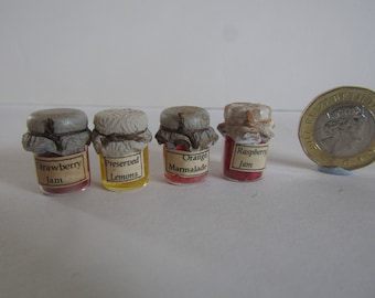 4 jars of jams for 12th scale dolls house by KastleKelm Miniatures