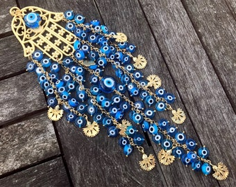 Turquoise Evil Eye Beaded Flower and Hamsa Charm Wallhanging - Oriental Evil Eye Home Decor