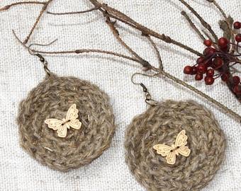 Boho crochet earrings with butterfly Rustic ear hoop bohemian crocheted earring hemp twine Hippie fiber Jute Ear hoops Nature lover gift