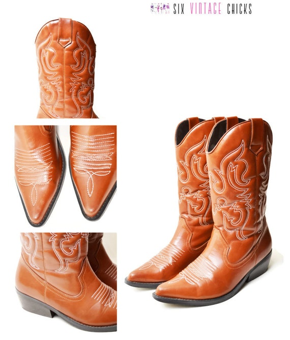 Country boots Cowgirl women Leather western US11 boots EU45 style cowboy 5 Vintage Size brown chic embroidered Boho qvYBI