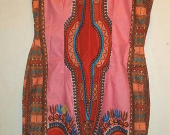 Pink Dashiki Print Dress