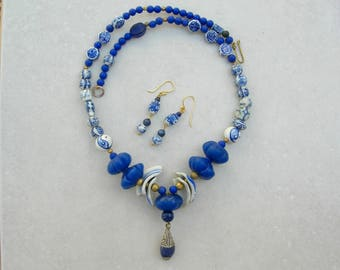 China Blue, Old Pottery Shards, Blue Glass Melon Beads, Porcelain Chinese Beads, Tibetan Lapis Pendant, Ethnic Necklace Set by SandraDesigns