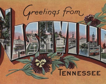 Greetings from Nashville, Tennesseee (Yellow) - Vintage Halftone (Art Print - Multiple Sizes Available)