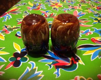 Vintage stoneware salt and pepper with drip glaze- USA