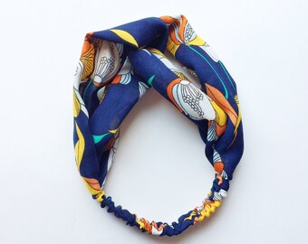 Phyllis Fabric Headband - Turban headband - Art Nouveau print - Boho headband - Womans headband - Adult headband - Navy fabric headband