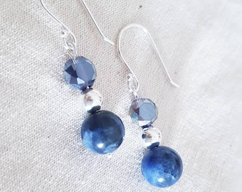 Earring beads Sodalite and Sterling Silver 925