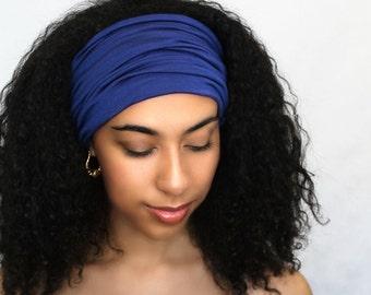 Royal Blue Turban Head Band, Yoga headband, Wide Headband, Exercise Headband, Pretied Turban, Cobalt 298-15a