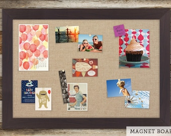 Magnetic Bulletin Boards | Framed Magnet Boards | Magnet Board | Decorative Magnet Boards - Plank Frame + Burlap Fabric