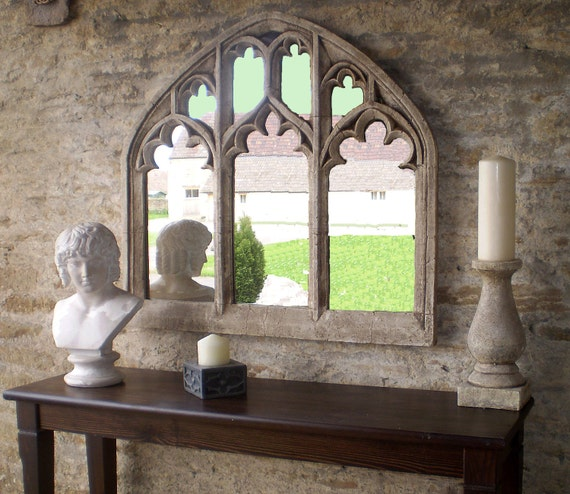Like this item? & Triple Arch OVER MANTEL church window mirror in antique