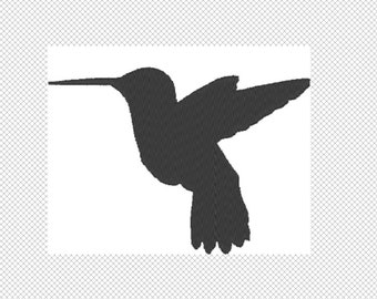 Hummingbird Embroidery Design File - multiple formats -  2 sizes - instant download - silhouette embroider - decal embroidery