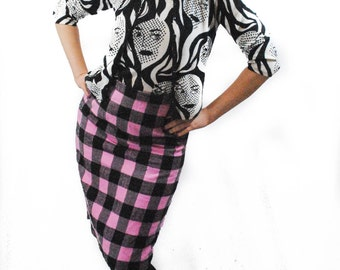 Pink and Black Plaid Pencil Skirt