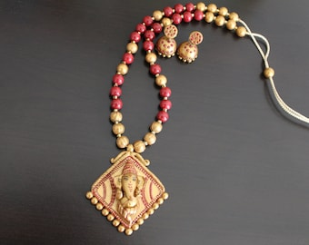 Terracotta Jewelry - Terracotta necklace- Temple design - Ganesha Necklace.