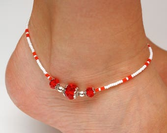 Beaded anklet Beach anklet for women Red anklet Bright anklet Summer accessories Beach accessories Foot jewelry Body jewelry Crystal anklet