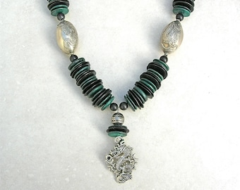 """Dragon Necklace - Dragon Pendant, Dragon Beads & Dragon Clasp, Year of the Dragon, Green """"Scales,"""" Statement Necklace by SandraDesigns"""