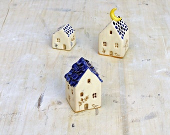 tiny ceramic houses set with moon and birds/blue and white ceramic house for garden and terrarium/ miniature home decor
