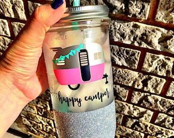 Happy Camper Mason Jar, Glamping Tumbler,Glitter Tumbler, Happy Camper, Custom Mason Jar, Glitter Mason Jar, Happy Glamper, Airstream