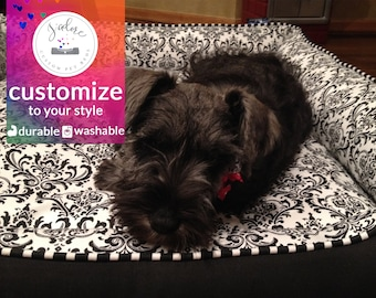 Black White Damask Dog Bed | Choose Your Design or Design Your Own | Washable & High Quality