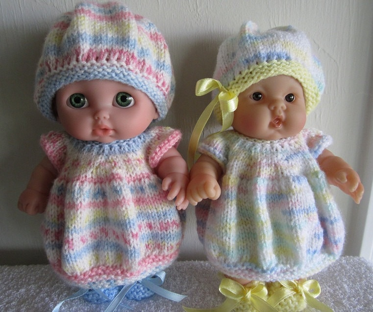 Baby Doll Knitting Pattern Bubble Dress Set for 8 inch Lots to