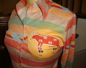 Vintage Maggie's Prints Southwestern New Mexico Arizona Nylon Shirt S