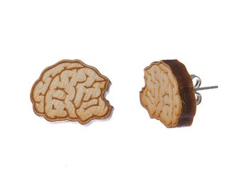 Zombie Brain earrings - laser cut wood