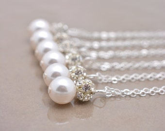 Set of 5 Bridesmaid Necklaces, 5 Pearl and Rhinestone Necklaces, Crystal and Pearl Pendant, Sterling Silver Necklace Chain 0192