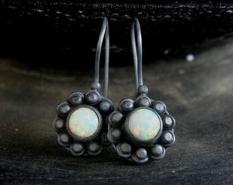 Opal Earrings Oxidized Silver