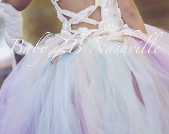 Vintage Wedding Flower Girl Dress   Ivory Rose and Mint  Dress Satin Rosette Detachable Bustle  All Sizes  Baby to Girls 10