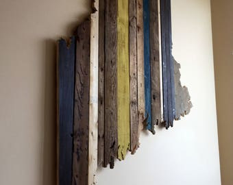 Maine Reclaimed Wood State Outline Wall Art - Large