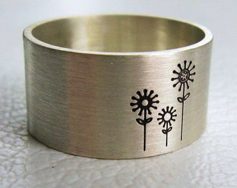 Silver Ring with Flowers, Gift for Gardener