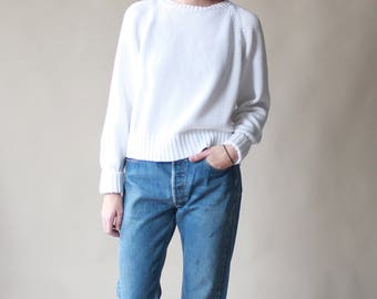 white cotton knit sweater | 1990s cropped jumper, small - large