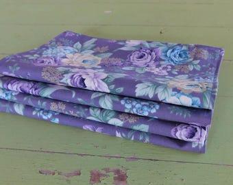 Everyday Cloth Napkins, Set of 4, Purple/Purple, Blue, Ivory Flowers