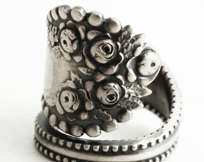 Silver Rose Ring, Floral Ring, Sterling Silver Spoon Ring, Vintage Victorian Rosebud Ring Gift Gorham Lancaster, Adjustable Ring Size (6356)