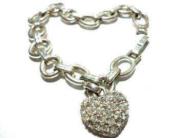Vintage Heart Bracelet Rhinestone Charm 1960s Valentines Day