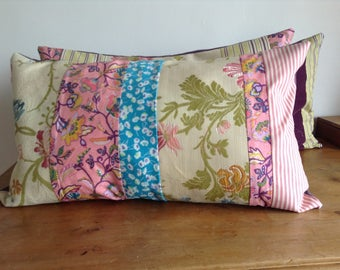 "Patchwork pillow case from the ""Bohemian dreaming"" series of five strips of fabric."