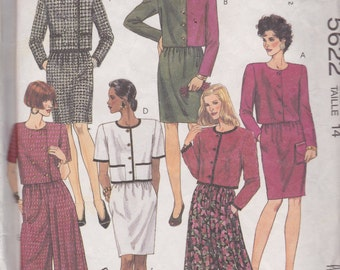 McCall's 5622 Misses' Two Piece Dress, Top, Skirt, Split Skirt Size 14 Vintage UNCUT Pattern Rare and OOP