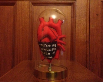 Anatomical Human Heart in a Bell Jar. Lots of wording options! Alternative Sarcastic Love Token. Faux Taxidermy, Quirky Gifts, Weird Stuff