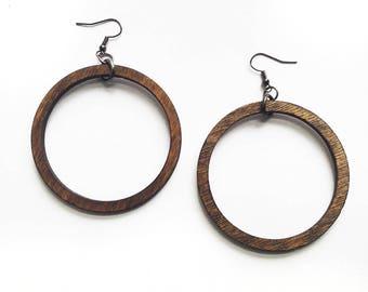 Classic Wood Hoop Earrings - Wood Earrings, Laser Cut Jewelry, Joanna Gaines, Bohemian Jewelry, Gift for Women, 5th Anniversary Gift